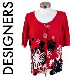 DESIGNERS ORIGINALS RED BLACK FLORAL CARDIGAN L